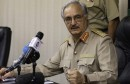 General Haftar speaks during a news conference in Abyar